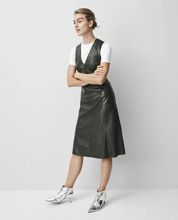 Prologue faux leather dress, $39.99, and crewneck T-shirt, $17.99.