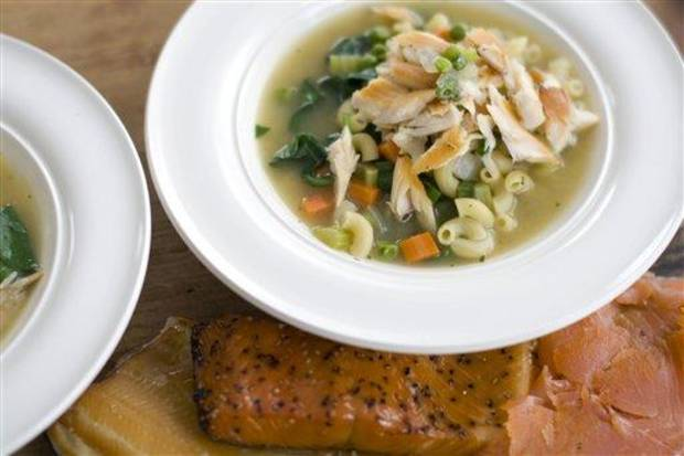 photo - In this image taken on November 28, 2011, Smoked Trout Noodle Soup is shown in Concord, N.H. (AP Photo/Matthew Mead)