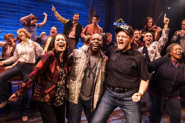 "The North American tour cast of ""Come From Away"" performs. [Matthew Murphy photo]"