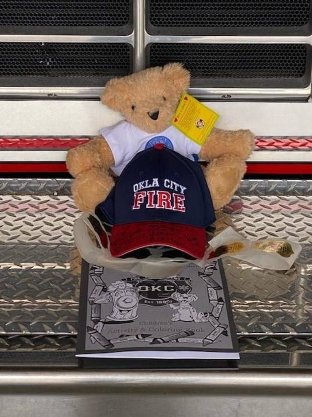 Jude's gifts from the Oklahoma City Fire Department on his second birthday.