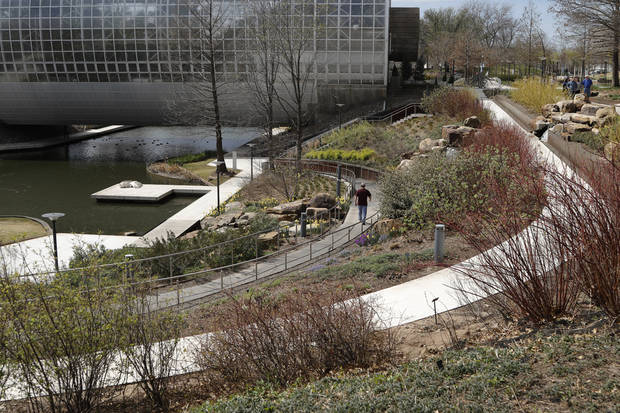This view of the Myriad Botanical Gardens is looking towards the Crystal Bridge on the east side, where replanting for spring was to begin soon. [Photo by Doug Hoke, The Oklahoman]