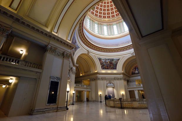 <p>Economic news coming from the state Capitol is improving, according to the most recent figures. Oklahoma Treasurer Ken Miller said revenue is higher than last year for the seventh straight month. [Photo by Steve Sisney, The Oklahoman Archives]</p>