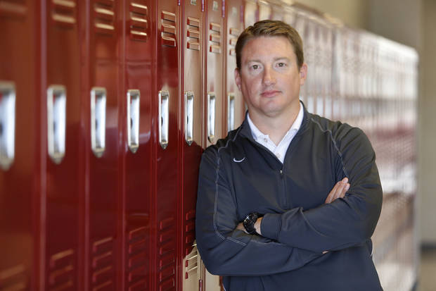 photo - Edmond Memorial High School football coach Justin Merideth. Photo By Steve Gooch, The Oklahoman