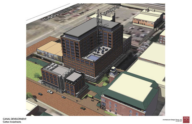 photo - Gary Cotton proposed a $36 million two-tower development in January along the Bricktown Canal. The undeveloped properties, as depicted in this rendering, are set to be auctioned off next month. Rendering Provided