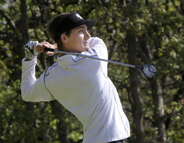 photo - Edmond Santa Fe's Drew Ison tees off during the 6A boy's state golf tournament at the Karsten Creek Golf Course in Stillwater, OK, Monday, May 6, 2013,  By Paul Hellstern, The Oklahoman