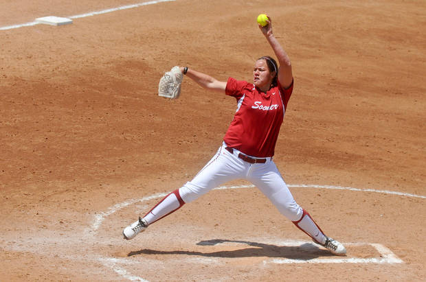 photo - Oklahoma pitcher Keilani Ricketts pitches in the final game of the seasons Bedlam series held in Stillwater, Okla. on May 12, 2013.  KT King/For the Oklahoman KOD