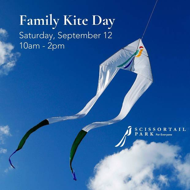 Scissortail Park's Family Kite Day takes place from 10 a.m. to 2 p.m. Saturday on the Great Lawn at Scissortail Park, 300 SW 7. [Poster image provided]