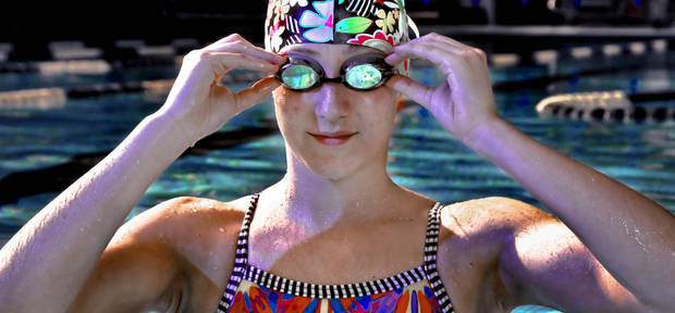 photo - HIGH SCHOOL SWIMMING / SWIMMER: Carl Albert exchange student Anka Lukannek pose for a photo at the Rose State College Aquatics Center on Monday, Jan. 14, 2013, in Midwest City, Okla.   Photo by Chris Landsberger, The Oklahoman