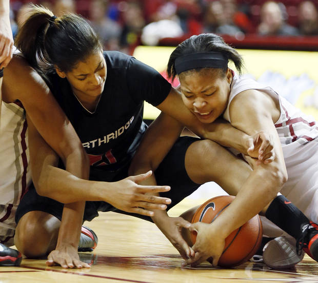 photo - Cal State Northridge's Jianni Jackson (21) and Oklahoma's Portia Durrett (31) battle for the ball in the second half during a women's college basketball game between the University of Oklahoma (OU) and Cal State Northridge at the Lloyd Noble Center in Norman, Okla., Saturday, Dec. 29, 2012. OU won, 79-57.  Photo by Nate Billings, The Oklahoman