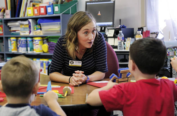 Haylee Reed is a student teacher in a pre-K classroom at Indian Meridian Elementary School in the Choctaw/Nicoma Park School District. She is photographed with students on Thursday, Aug. 16, 2018. Photo by Jim Beckel, The Oklahoman