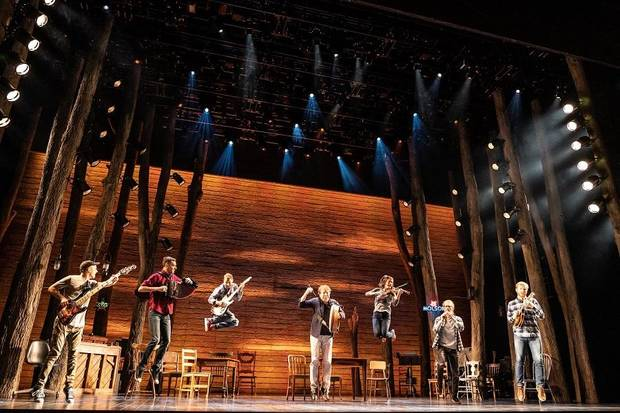 "The band from the North American tour of ""Come From Away"" performs. [Matthew Murphy photo]"