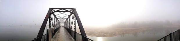photo - Fog at the Lake Overholser bridge Monday, Dec. 2, 2013 - Photo by Steve Gooch