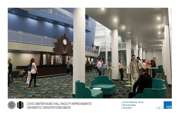The Civic Center's main lobby is due to undergo a full remodel as part of $9.4 million in bond funding approved by Oklahoma City voters in 2017.[Rendering provided by FSB Architects & Engineers]