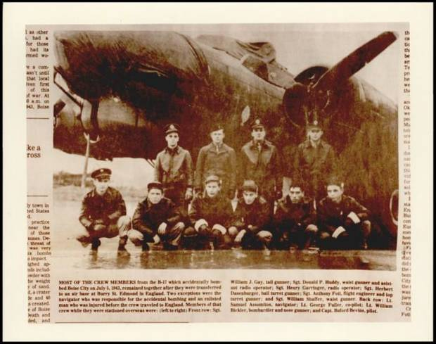 The crew of the B-17 that mistakenly dropped dummy bombs in Boise City in 1943. Credit: The Oklahoman Archive.