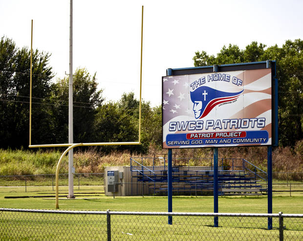 Southwest Covenant played its first football game Friday since Peter Webb's death. Bluejacket, the Patriots' opponent, used its community to show support. [Chris Landsberger/The Oklahoman]
