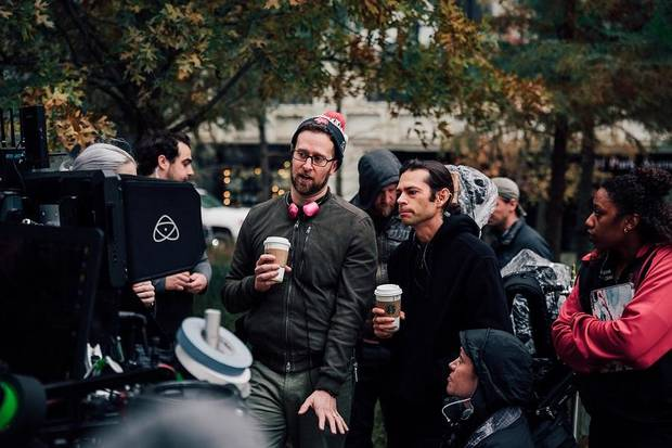 "Director Josh Brandon and Director of Photography Timothy Riese work behind the scenes of the film ""A Thousand Little Cuts."" [Photo provided]"