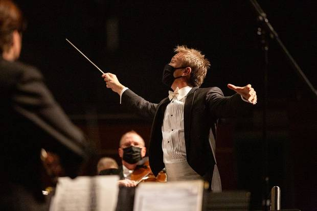 Music Director Alexander Mickelthwate conducts the Oklahoma City Philharmonic in an October concert. [Heather Hanson photo]