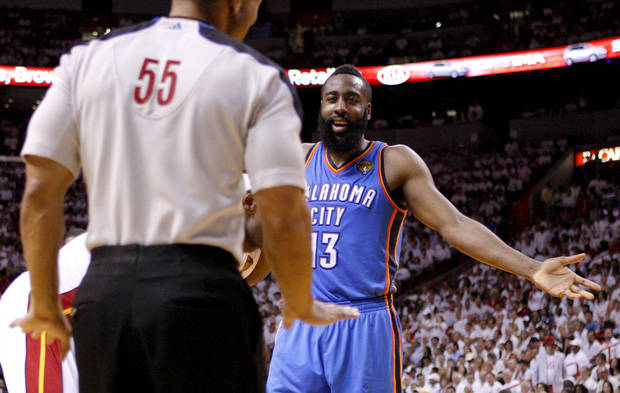 photo - Oklahoma City's James Harden gestures towards official Bill Kennedy during Game 4 of the NBA Finals between the Oklahoma City Thunder and the Miami Heat at American Airlines Arena, Tuesday, June 19, 2012. Photo by Bryan Terry, The Oklahoman