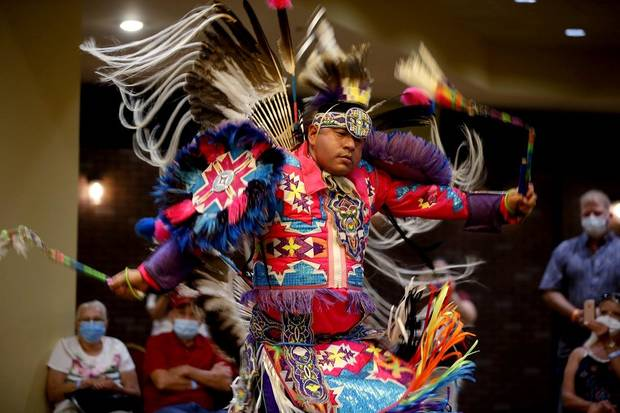 Cecil Gray, who is Kiowa and Cheyenne, performs a men's fancy dance dance exhibition by the Central Plains Dancers at the Red Earth Festival at Grand Event Center at the Grand Casino Hotel & Resort, Saturday, Sept. 5, 2020. [Bryan Terry/The Oklahoman]