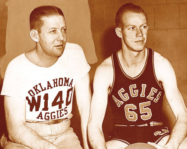 photo - DUOTONE: OSU college basketball coach Henry Iba, left, and A.L. Bennett (Original photo dated 03/26/47, ran 03/01/50, 01/28/52 TIMES)
