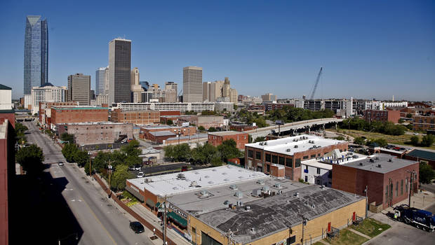 photo - AERIAL VIEW: downtown/bricktown/deep deuce/ on Monday, Sept. 10, 2012, in Oklahoma City, Okla.  Photo by Chris Landsberger, The Oklahoman