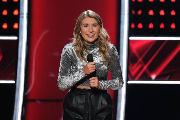 "Gracee Shriver appears on ""The Voice."" [Photo by Justin Lubin/NBC]"