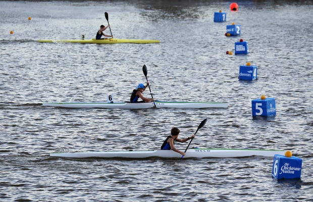 photo - Kayakers compete during the Oklahoma Regatta Festival on the Oklahoma River in Oklahoma City, Friday, Oct. 4, 2013. Photo by Nate Billings, The Oklahoman