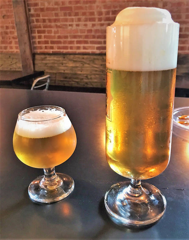 The same pilsner poured standard, left, and long. [Dave Cathey/The Oklahoman]