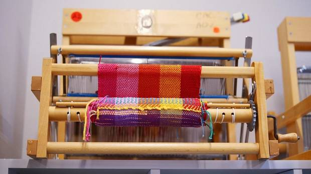 Looms are lined up in the fiber arts studio of Oklahoma Contemporary Arts Center's newly remodeled Studio School, Monday, March 9, 2020. [Photo by Doug Hoke/The Oklahoman]