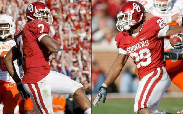 photo - Oklahoma running backs Demarco Murray, left, and Chris Brown. Oklahoman Photos