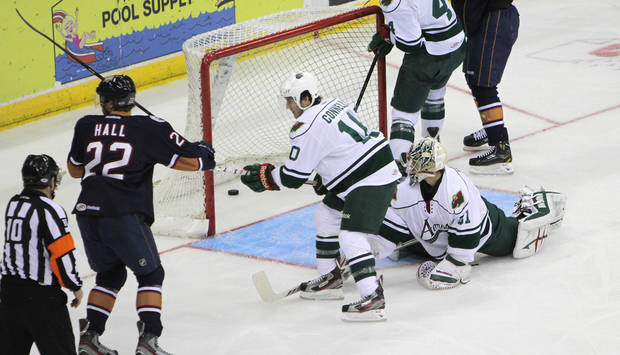 photo - The Barons' Taylor Hall scored a goal in Sunday's game against Houston. Photo by Morris Molina, Houston Aeros