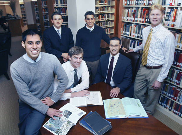 photo - Six Herbert W. Armstrong College students have returned to Edmond after spending months on an archaeological dig in Israel. Seated in center are from left, Brandon Nice and Edwin Trebels. Standing from left are Victor Vejil, John Rambo, Jeremy Cocomise and Brent Nagtegaal. PHOTO BY PAUL HELLSTERN, THE OKLAHOMAN