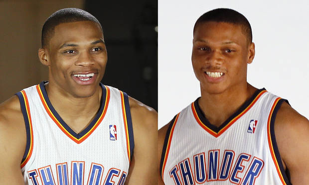 photo - The Thunder's Russell Westbrook, left, and Daniel Orton.  Photos by Nate Billings, The Oklahoman