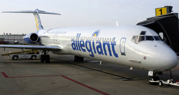OKLAHOMA CITY, OKLA., THURSDAY 10/28/04:  Allegiant Airlines' daily flight to Las Vegas from Oklahoma City starts today.  The plane is parked at the new terminal at Will Rogers World Airport.  Photo by Michael Downes, The Oklahoman.