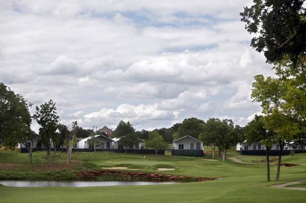 photo - Temporary buildings have been erected on the course at Oak Tree National Country Club in preparation for the 2014 U.S. Senior Open, held in July, on June 12, 2014. Photo by KT King/The Oklahoman