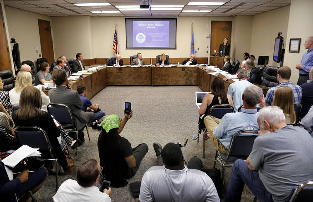 The state Board of Health voted at its monthly meeting Tuesday on 75 pages of rules creating a rough framework for patients, physicians, caretakers and business owners interested in medical marijuana. [Photo by Jim Beckel, The Oklahoman]