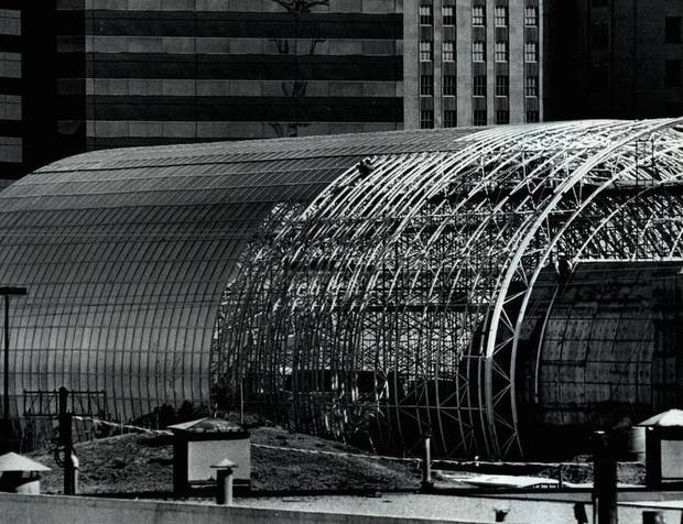 In March 1984, the botanical tube was becoming part of the project landscape. [Photo by Roger Klock, The Oklahoman Archives]