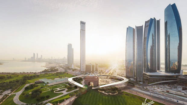 This is a rendering of a potential Hyperloop station in Dubai.