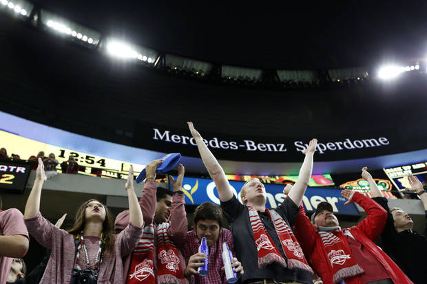 Oklahoma fans cheer during the Allstate Sugar Bowl between University of Oklahoma Sooners (OU) and Auburn University Tigers at the Mercedes-Benz Superdome in New Orleans, Monday, Jan. 2, 2017.  Photo by Sarah Phipps, The Oklahoman