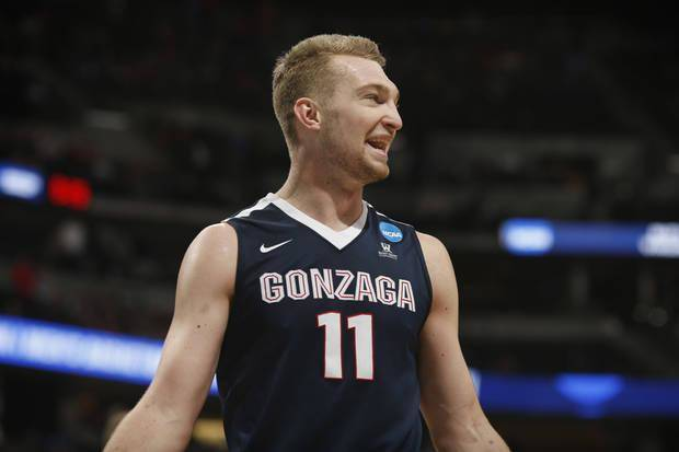 Gonzaga forward Domantas Sabonis smiles near the end of the teams' second-round game against Utah on Saturday, March 19, 2016, in the NCAA men's college basketball tournament in Denver. Gonzaga won 82-59. (AP Photo/David Zalubowski)