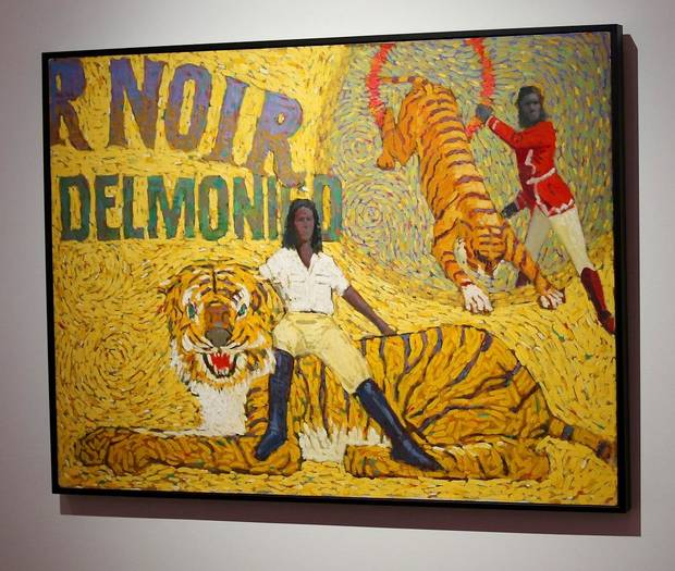 """Delmonico Tempts His Cats"" by O. Gail Poole is shown at the Fred Jones Jr. Museum of Art, on the University of Oklahoma campus in Norman, Thursday, January 23, 2020. It is part of ""Sideshow,"" an exhibit of works by the late Oklahoma artist that will close Sunday following the museum's temporary closure due to the coronavirus pandemic. [Doug Hoke/The Oklahoman]"