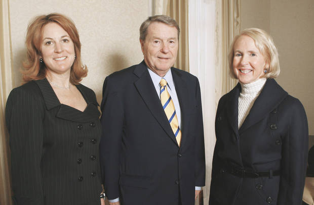 photo - Louise Bennett, left, and Christy Everest, both members of the Gaylord family, visit with broadcast journalist Jim Lehrer on Monday at a luncheon at the Skirvin Hotel. Lehrer was honored with the inaugural Gaylord Prize for Excellence in Journalism and Mass Communication. PHOTO BY PAUL B. SOUTHERLAND, THE OKLAHOMAN