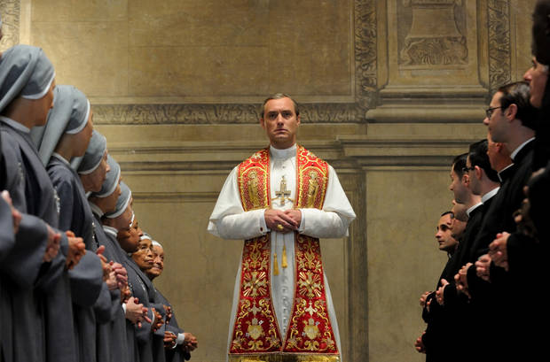 "This image released by HBO shows Jude Law from the HBO series, ""The Young Pope,"" premiering Sunday at 9 p.m. EST. (HBO via AP)"