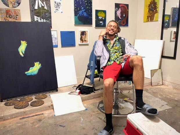 "For his June Oklahoma Contemporary Studio-in-Place project, Calvin Pressley sought to have ""Connected Conversations"" with a variety of community members via video-conferencing software while creating sketches and taking notes for a series of portraits he is now creating. [Image provided]"