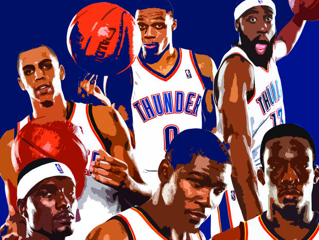 photo - Clockwise from top left; Thabo Sefolosha, Russell Westbrook, James Harden, Jeff Green, Kevin Durant and Serge Ibaka. Photos by Chris Landsberger; Photo illustration by Matt Clayton, The Oklahoman