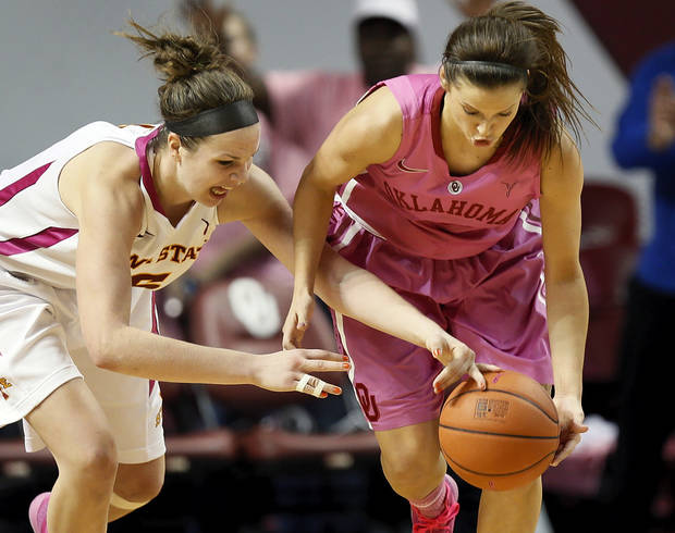 photo - WOMEN&#039;S COLLEGE BASKETBALL: Iowa State&#039;s Hallie Christofferson (5), left, and Oklahoma&#039;s Morgan Hook (10) chase the ball during an NCAA women&#039;s basketball game between the University of Oklahoma (OU) and Iowa State at the Lloyd Noble Center in Norman, Okla., Thursday, Feb. 14, 2013. Iowa State won, 72-68. Photo by Nate Billings, The Oklahoman
