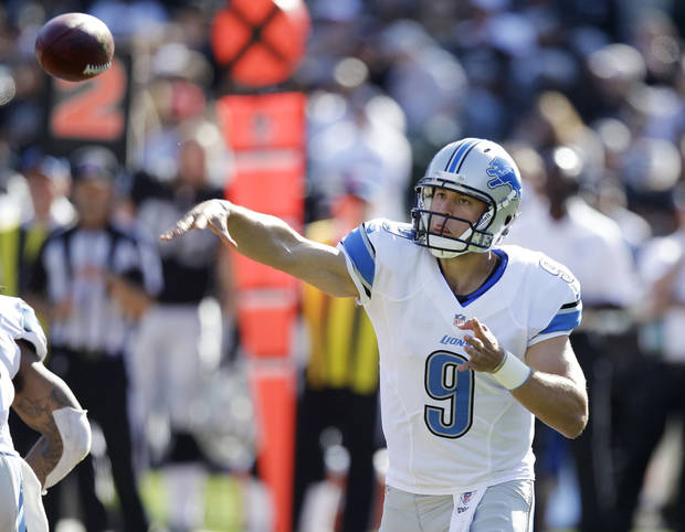 photo - Detroit Lions quarterback Matthew Stafford (9) throws against the Oakland Raiders during a preseason NFL football game in Oakland, Calif., Saturday, Aug. 25, 2012. (AP Photo/Ben Margot) ORG XMIT: OAS111