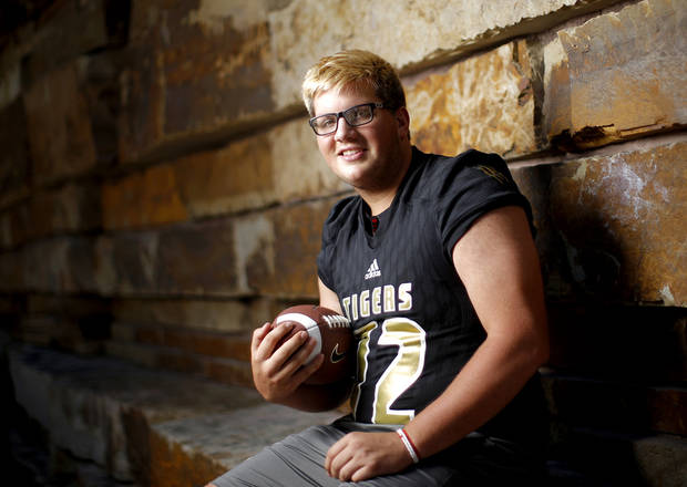 Broken Arrow's Andrew Raym poses for a photo for The Oklahoman's Super 30 high school football player series at The Gathering Place in Tulsa, Okla., Thursday, June 20, 2019. [Bryan Terry/The Oklahoman]
