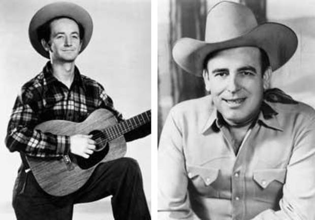 photo - Woody Guthrie, left Bob Wills, right