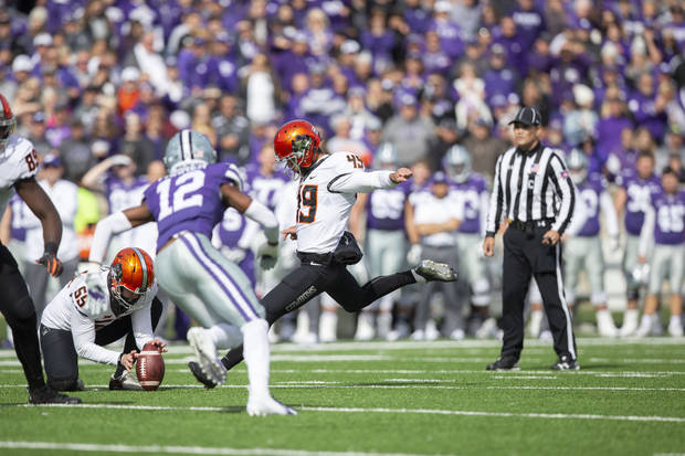 OSU kicker Matt Amendola kicks a first-half field goal on Saturday in Manhattan, Kansas. [PHOTO BY BRUCE WATERFIELD, Courtesy OSU Athletics]